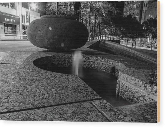 Black And White Fountain Wood Print