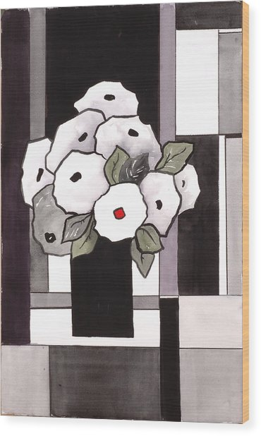 Black And White Funny Flowers Wood Print by Carrie Allbritton