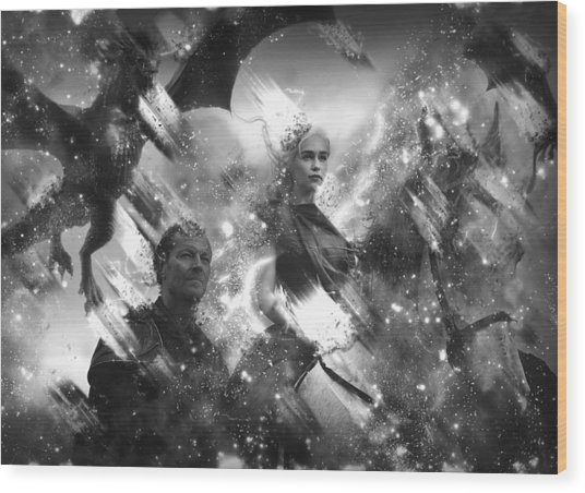 Black And White Games Of Thrones Another Story Wood Print