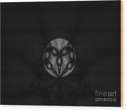 Black And White Globe Fractal Wood Print