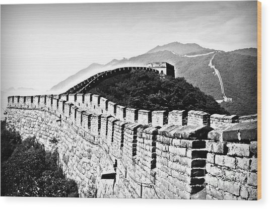 Black And White Great Wall Wood Print by Alessandro Giorgi Art Photography
