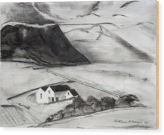 Black And White House And Hills Wood Print