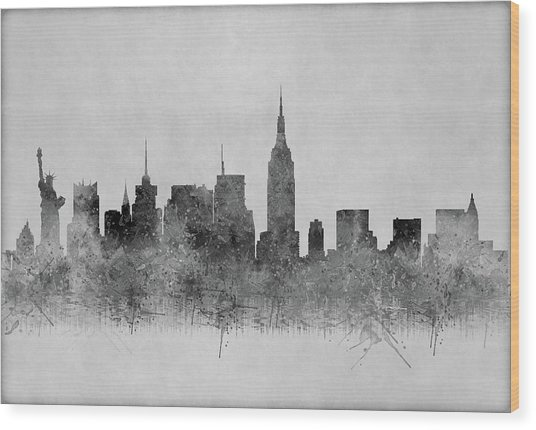 Wood Print featuring the digital art Black And White New York Skylines Splashes And Reflections by Georgeta Blanaru