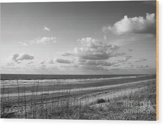 Black And White Ocean Scene Wood Print