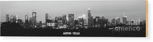 Black And White Panoramic View Of Downtown Austin Wood Print