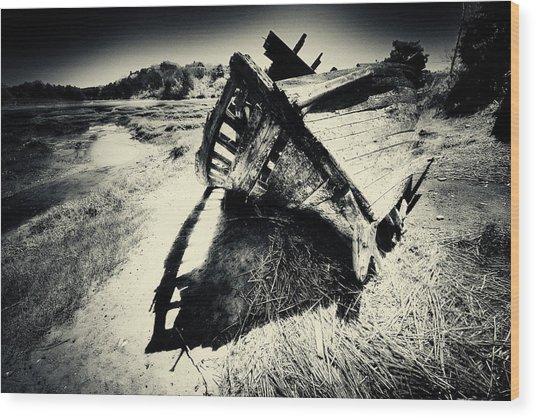 Black And White Photography Shipwreck Pinhole Wood Print by Dapixara Art