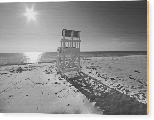 Black And White Photography The Beach Wood Print by Dapixara Art