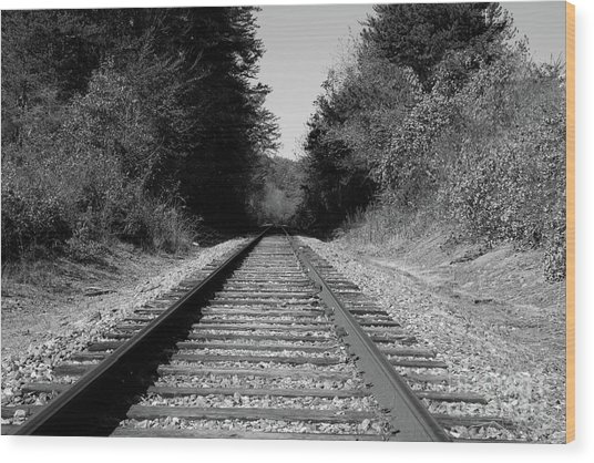 Black And White Railroad Wood Print