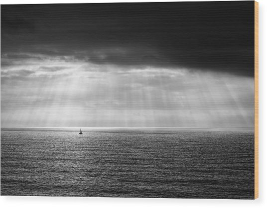 Black And White Seascape Wood Print