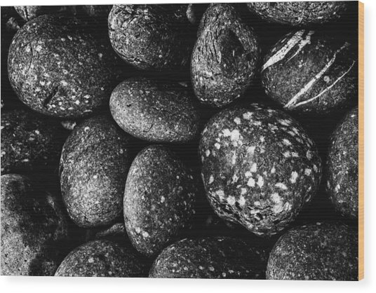 Black And White Stones One Wood Print
