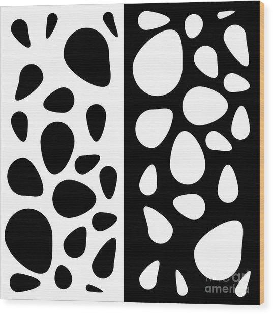 Black And White Teardrops Wood Print