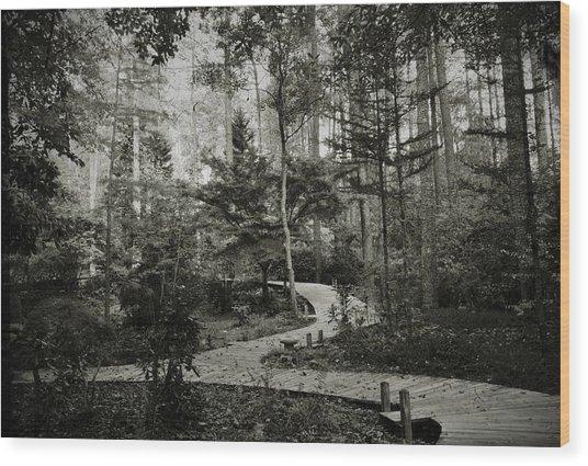 Black And White Vintage Edit -walk In Peace  Wood Print