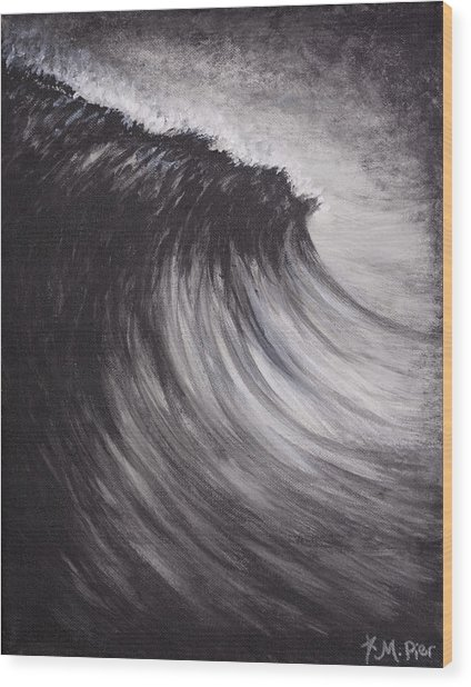 Black And White Wave Guam Wood Print