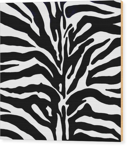 Black And White Zebra  Wood Print