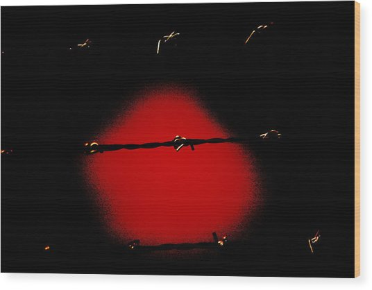 Black Barbed Wire Over Black And Blood Red Background Eerie Imprisonment Scene Wood Print