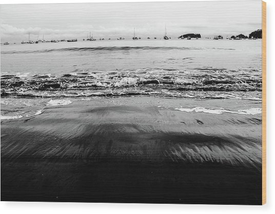Black Beach  Wood Print
