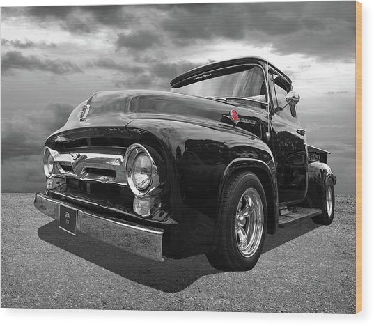 Black Beauty - 1956 Ford F100 Wood Print