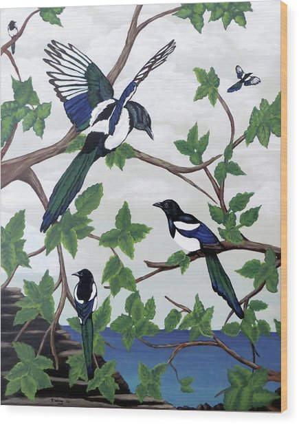 Black Billed Magpies Wood Print