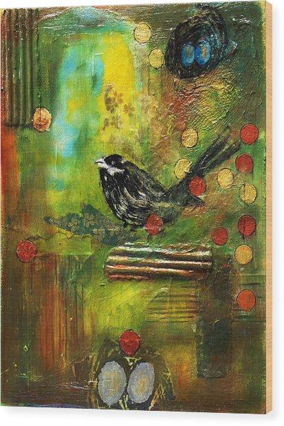 Black Bird Come Home Wood Print by Ishita Bandyo