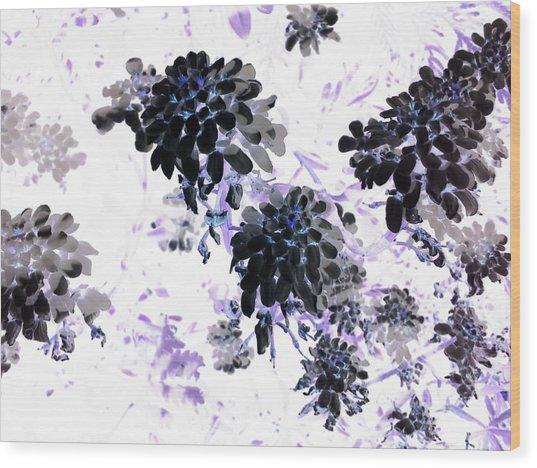 Black Blooms I Wood Print