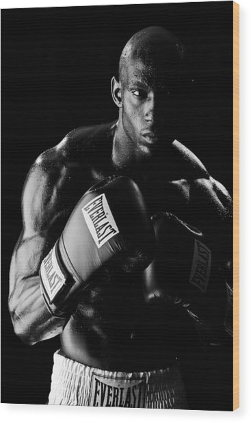 Black Boxer In Black And White 03 Wood Print by Val Black Russian Tourchin