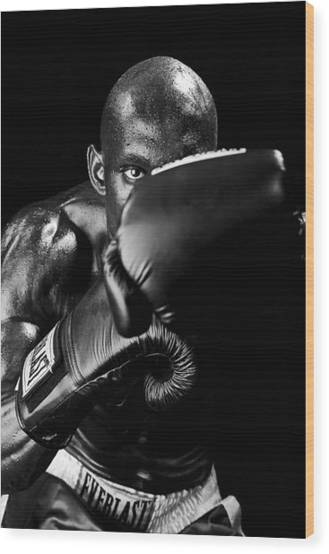 Black Boxer In Black And White 04 Wood Print