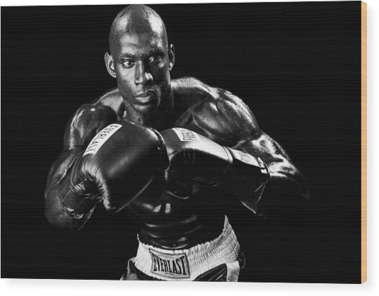 Black Boxer In Black And White 07 Wood Print