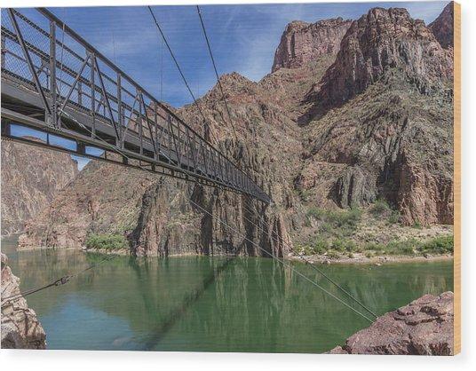 Black Bridge Over The Colorado River At Bottom Of Grand Canyon Wood Print