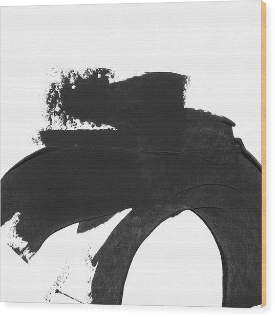 Black Brushstroke 4- Art By Linda Woods Wood Print
