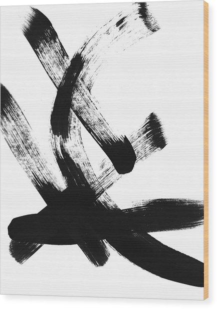 Black Brushstrokes 2- Art By Linda Woods Wood Print