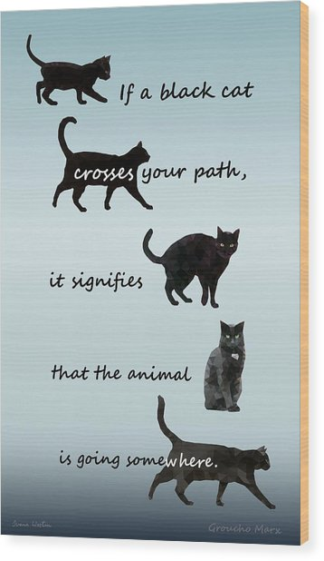 Black Cat Crossing Wood Print