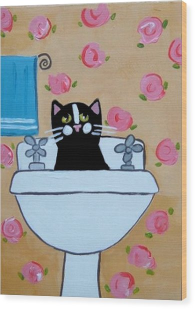 Black Cat In Sink Wood Print by Christine Quimby