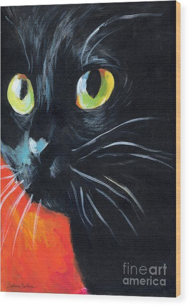Black Cat Painting Portrait Wood Print