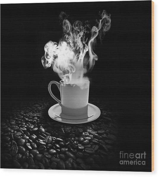 Black Coffee Wood Print