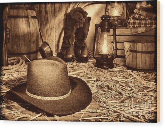 Black Cowboy Hat In An Old Barn Wood Print