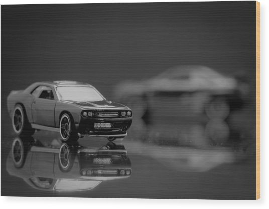 Black Dodge Challenger Wood Print