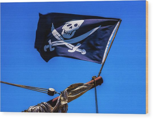 Black Flag Flying From Bow Wood Print