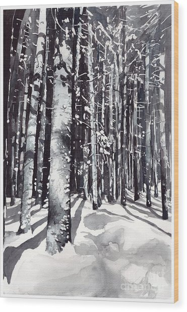 Black Forest Watercolor Wood Print