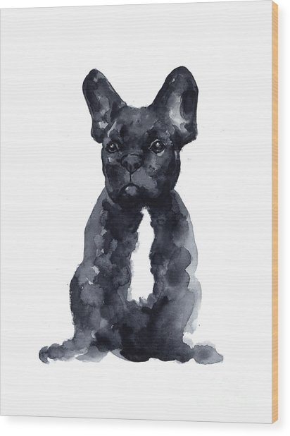 Black French Bulldog Watercolor Poster Wood Print