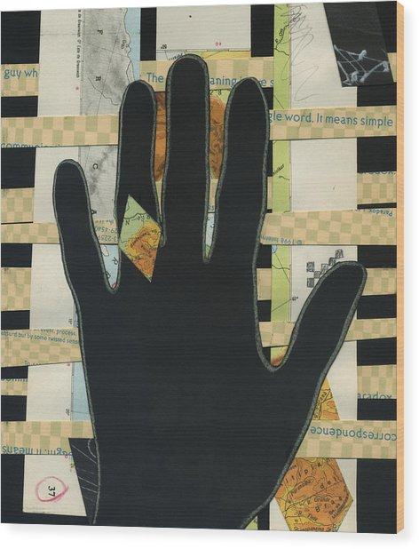 Black Hand Collage Wood Print