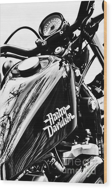Black Harley Wood Print