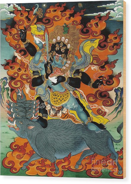Black Hayagriva Wood Print