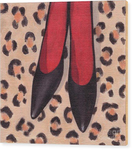 Black High Heels Wood Print