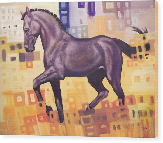 Black Horse Wood Print