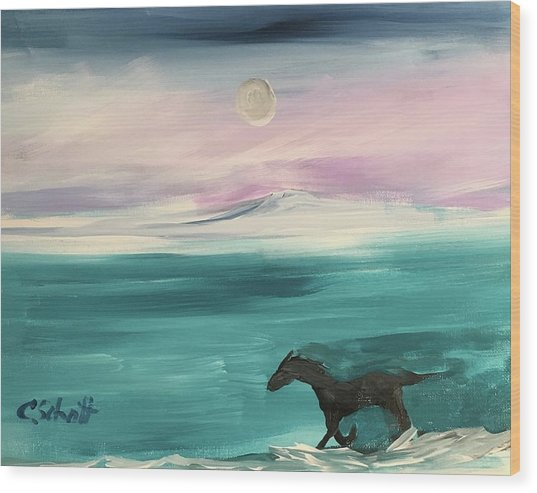 Black Horse Follows The Moon Wood Print