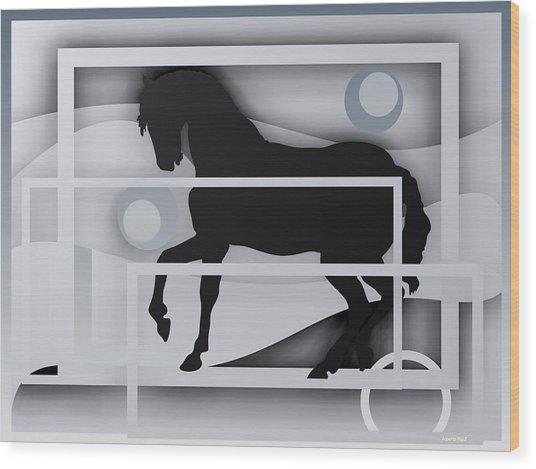 Black Horse White. Wood Print