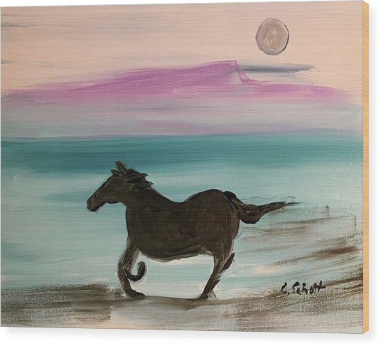Black Horse With Moon Wood Print