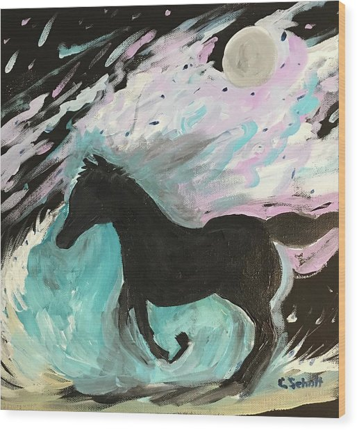 Black Horse With Wave Wood Print
