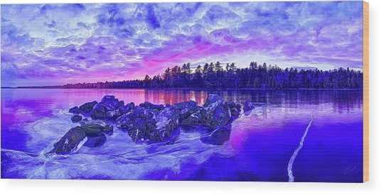 Black Ice At Twilight Wood Print