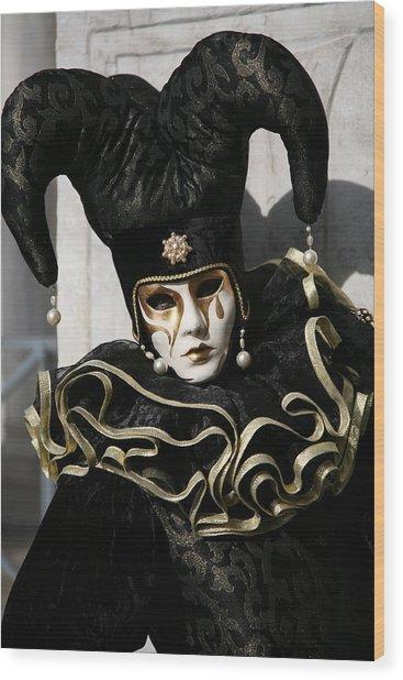 Black Jester Wood Print